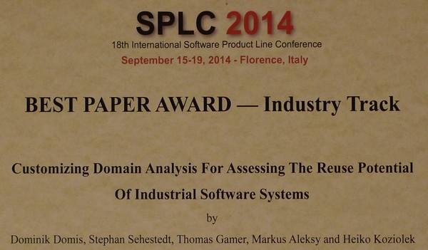 SPLC 2014 Best Paper Award
